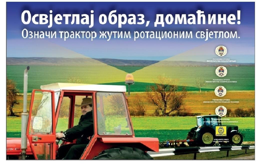 """Kampanja """"Osvetlaj obraz, domaćine! Označi traktor žutim rotacionim svjetlom"""" kreće u Novom Gradu"""