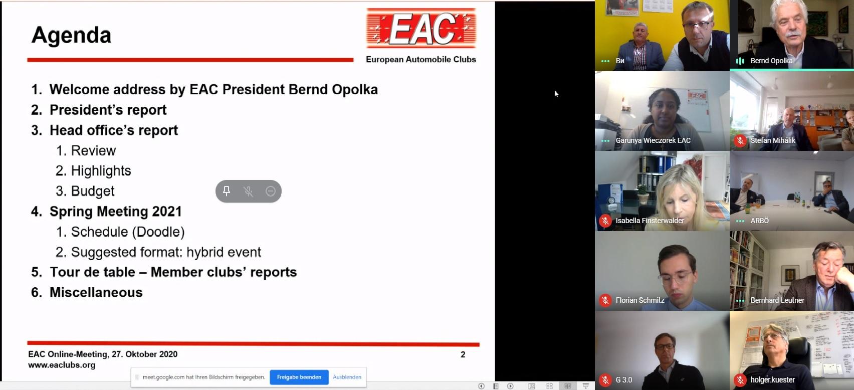 """Одржана видео конференција чланица европске аутомобилистичке асоцијације """"European Automobile Clubs – EAC"""""""